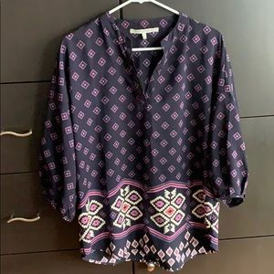 Purple Geometric Bohemian Blouse